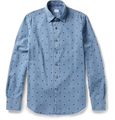 Incotex Glanshirt Polka Dot-Embroidered Cotton-Chambray Shirt
