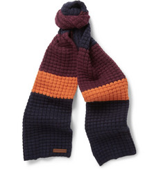 Burberry Shoes & Accessories Striped Waffle-Knit Wool and Cashmere-Blend Scarf