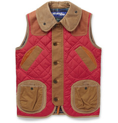 Junya Watanabe Quilted Nylon, Corduroy and Leather Gilet