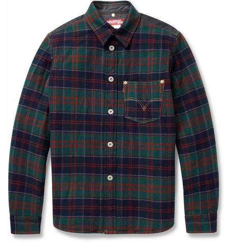 Junya Watanabe Padded Check Wool-Blend Shirt
