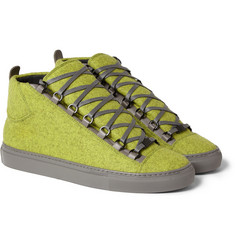 Balenciaga Arena Felt and Leather High Top Sneakers