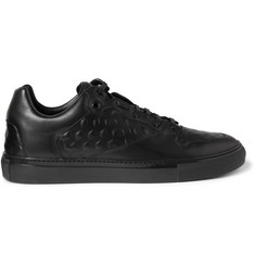 Balenciaga Debossed Leather Low-Top Sneakers