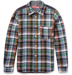 Junya Watanabe Levis Suede Elbow Patch Check Wool Overshirt