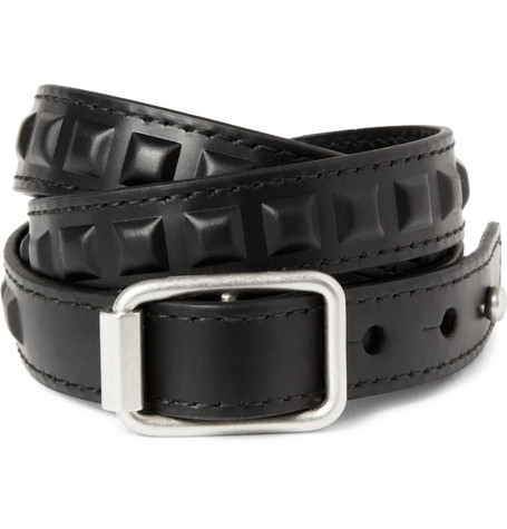 Balenciaga Studded Leather Wrap Bracelet
