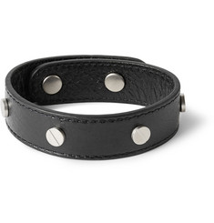 Balenciaga Studded Creased-Leather Bracelet
