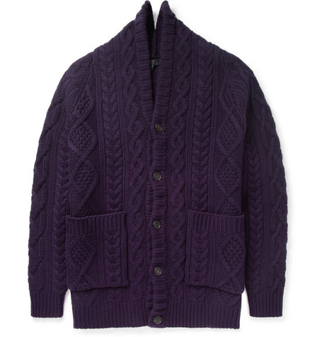 Burberry Prorsum Oversized Chunky Cable Knit Cashmere Cardigan
