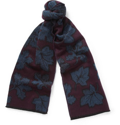 Burberry Prorsum Leaf-Patterned Cashmere Scarf