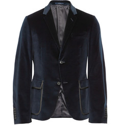 Gucci Dylan Slim-Fit Leather-Trimmed Velvet Blazer