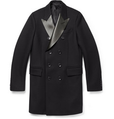Gucci Leather-Collar Wool Overcoat