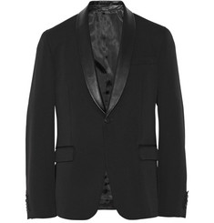Gucci Black Slim-Fit Leather-Trimmed Wool-Blend Suit Jacket