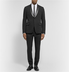 Gucci Slim-Fit Leather-Trimmed Wool-Blend Suit Jacket