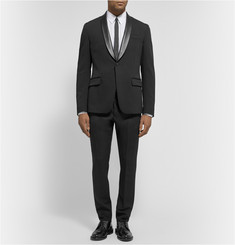 Gucci Black Slim-Fit Leather-Trimmed Wool-Blend Piqué Suit Trousers