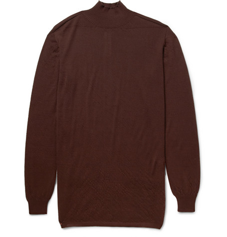 Rick Owens Fine-Knit Cashmere Turtleneck Sweater