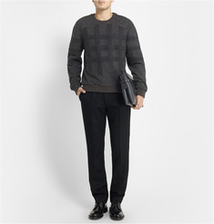 Wooyoungmi Double-Layered Check Wool-Blend Sweatshirt