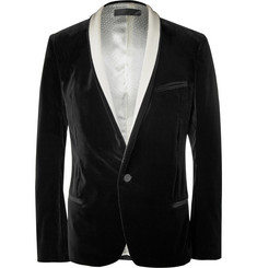 Haider Ackermann Black Slim-Fit Shawl-Lapel Velvet Blazer