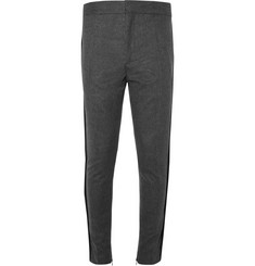 Haider Ackermann Tapered Grosgrain-Trimmed Wool-Flannel Trousers