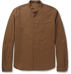 Haider Ackermann Grandad-Collar Cotton and Linen-Blend Shirt