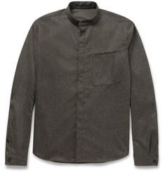Haider Ackermann Grandad-Collar Wool-Flannel Shirt