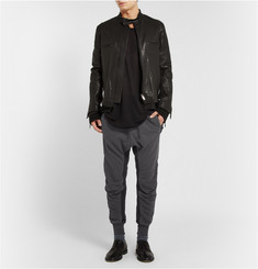 Haider Ackermann Cropped Grosgrain-Trimmed Cotton-Jersey Sweatpants