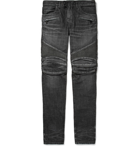 Balmain Regular-Fit Washed-Denim Biker Jeans