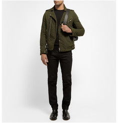 Balmain Washed Cotton-Twill Biker Jacket