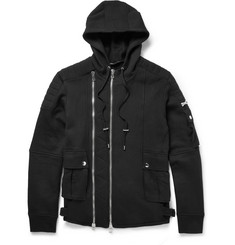Balmain Fleece-Back Cotton-Jersey Biker Hoodie