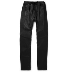 Balmain Slim-Fit Leather Sweatpants