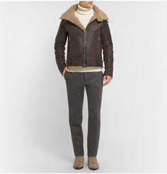 Balmain Shearling and Leather Aviator Jacket