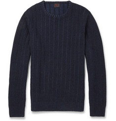 MP di Massimo Piombo Striped Textured-Knit Wool-Blend Sweater