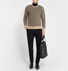 MP di Massimo Piombo Knitted Houndstooth Wool-Blend Sweater
