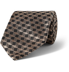 MP di Massimo Piombo Geometric-Patterned Woven Silk Tie
