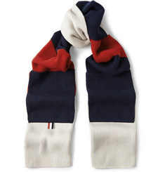 Thom Browne Colour-Block Ribbed Cashmere Scarf