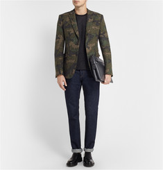Valentino Green Slim-Fit Woven-Wool Suit Jacket