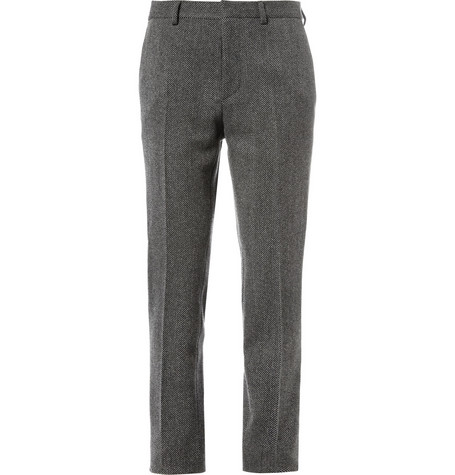 Valentino Slim-Fit Wool-Blend Herringbone Trousers