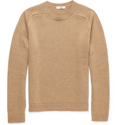 Valentino Knitted Camel-Hair Crew Neck Sweater