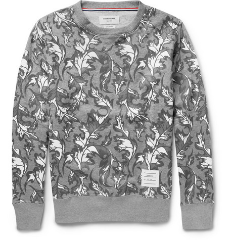 Thom Browne Leaf-Print Cotton-Jersey Sweatshirt