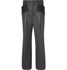 Givenchy Mélange-Knit Wool Trousers with Back Strap