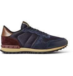 Valentino Suede and Leather-Trimmed Mesh Sneakers
