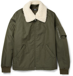 A.P.C. Shearling Collar Cotton-Blend Bomber Jacket