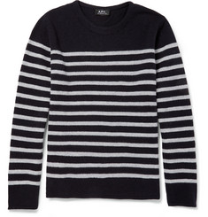 A.P.C. Striped Knitted-Wool Crew Neck Sweater
