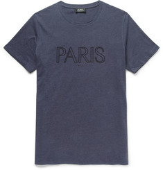 A.P.C. Paris Embroidered Cotton-Jersey T-Shirt