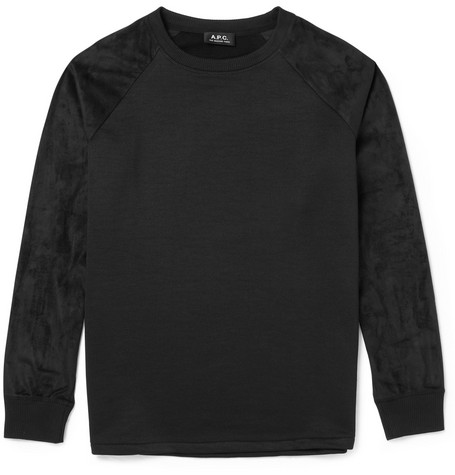 A.P.C. Cotton-Jersey and Faux Suede Sweatshirt