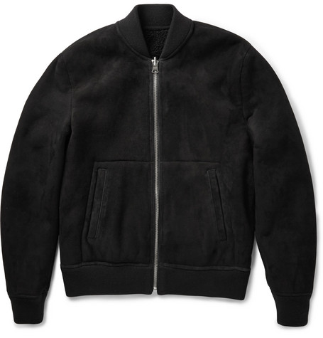 Acne Studios Otto Reversible Shearling and Suede Bomber Jacket