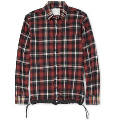Sacai Check Cotton-Flannel Contrast-Hem Shirt
