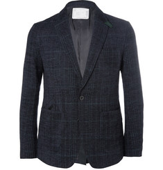Sacai Navy Slim-Fit Checked Woven Suit Jacket