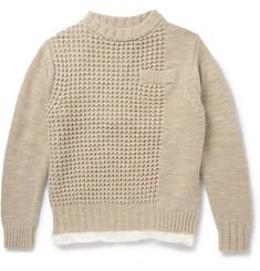 Sacai Satin-Lined Chunky-Knit Wool Sweater