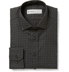 Etro Micro-Paisley Printed Cotton Shirt