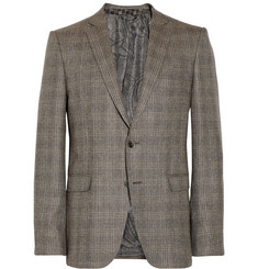 Etro Brown Slim-Fit Checked Silk and Wool-Blend Suit Jacket