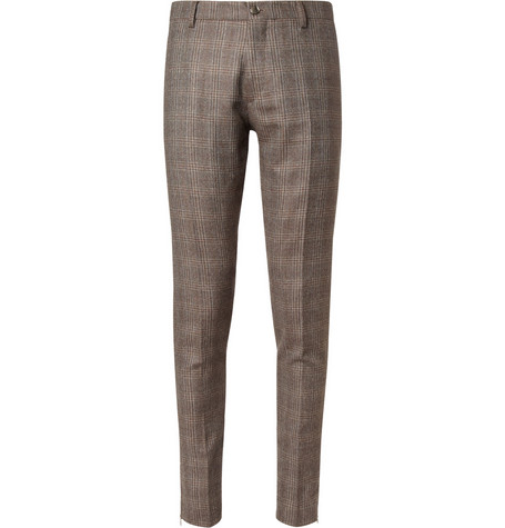Etro Brown Slim-Fit Checked Silk and Wool-Blend Suit Trousers