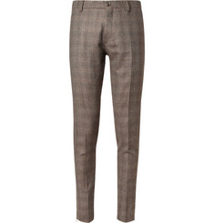 Etro Slim-Fit Check Silk and Wool-Blend Trousers